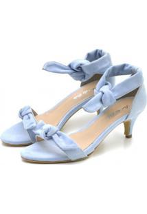 Sandália Salto Fino Flor Da Pele Azul Bebê - Kanui