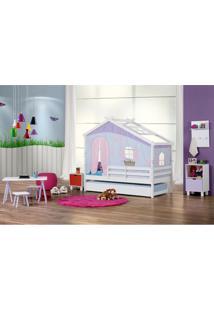 Bicama Infantil Prime Com Telhado V, Tenda Tijolinho Azul E Grade De Proteção - Casatema