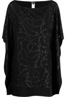 Balmain Blusa Com Estampa De Corrente E Logo - Preto