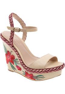 Sandália Plataforma Com Renda & Sisal- Bege Claro & Vermarezzo & Co.