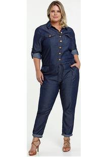 Macacão Feminino Jeans Plus Size Manga Longa