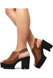 Sandália Tratorada Brittany Feminina - Feminino-Caramelo