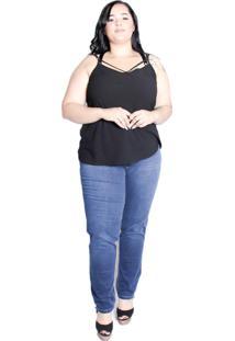 Calã§A De Jeans Com Lycra E Cã³S Alto Plus Size Da Panuse - Azul - Feminino - Dafiti
