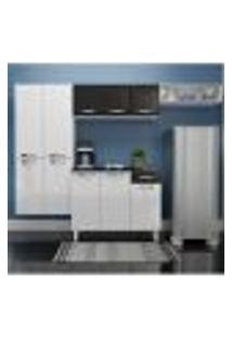 Cozinha Compacta Rubi Com Balcão 10 Pt 1 Gv Branca E Preta
