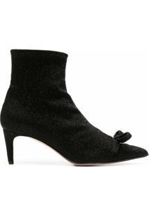 Red(V) Ankle Boot Com Detalhe De Laço - Preto