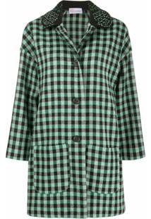 Redvalentino Embellished Check-Print Coat - Verde