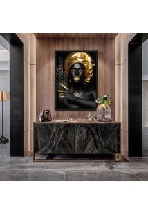 Quadro Nina 90X60Cm Mulheres Negras Maquiagem Dourada Moldura Vidro