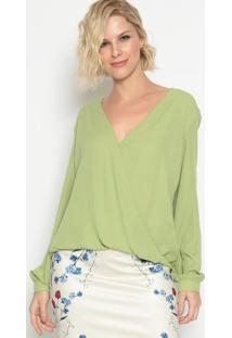 Blusa Com Transpasse - Verde- Lança Perfumelança Perfume