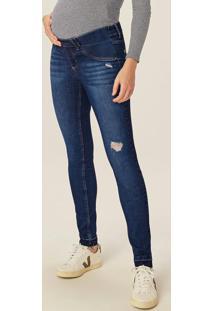 Calça Azul Maternidade Jeans Flex