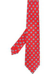 Kiton Gravata Com Estampa Geométrica - Vermelho