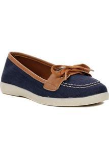 Sapato Mocassim Feminino Azul Marinho/Marrom