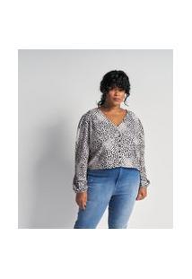 Blusa Animal Print Em Crepe Com Botões Curve E Plus Size Branco