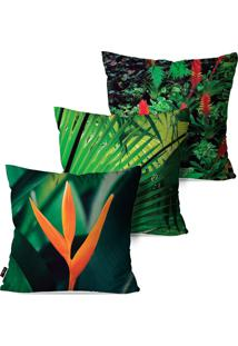 Kit Com 3 Capas Para Almofadas Pump Up Verde Natureza Tropical 45X45Cm