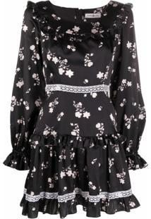 Roses & Lace Vestido Com Estampa Floral De Seda - Preto