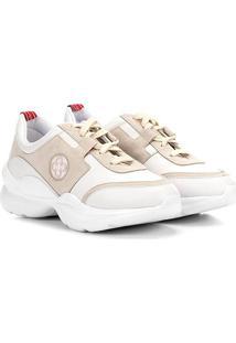 Tênis Couro Capodarte Chucky Sneaker Feminino - Feminino-Branco+Areia