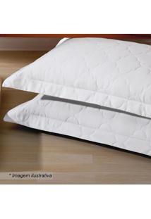 Porta Travesseiro Platine Matelass㪠Em Percal- Branco