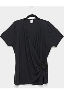 Blusa Plus Size Lecimar Transpassada Feminina - Feminino-Preto