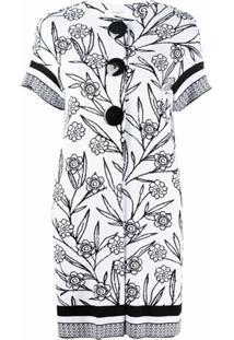 Charlott Cardigan Com Padronagem Floral - Branco