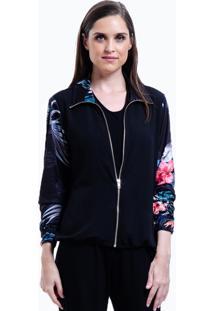 Jaqueta Bomber 101 Resort Wear Crepe Estampada Floral Preto