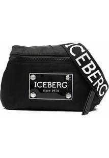 Iceberg Pochete Com Zíper E Placa De Logo - Preto