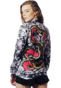 Jaqueta Bomber Estampada Elephunk Full Print Oriental Kobra Feminina - Feminino