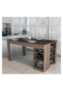 Mesa Para Cozinha Enjoy Com 3 Nichos - Nogueira