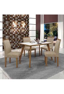 Conjunto De Mesa De Jantar Lavinia Com 4 Cadeiras Pampulha Iii Linho Imbuia Mel Branco