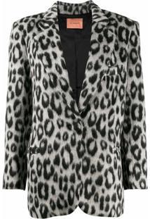 Andamane Emily Snow Leopard Blazer - Cinza