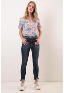 Calça Slim Cropped Cintura Alta Comfort Ervadoce Feminina - Feminino-Azul