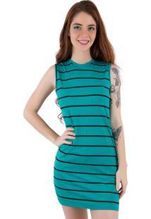 Vestido Curto Listrado Linha Noite Verde