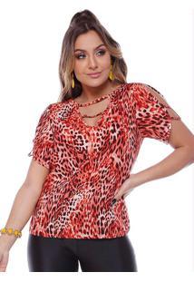 Blusa Estampada Manga Curta Vermelho