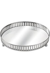 Bandeja Com Espelho Suíça Prata 28 Cm