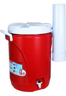 Garrafa Térmica 19 Litros Com Porta Copos Vermelha - Rubbermaid