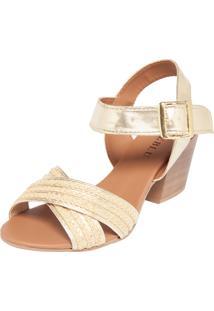 Sandália Fiveblu Salto Grosso Dourada