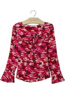 Blusa Le Lis Petit Bela Estampado Feminina (Camuflado Pink, 7)