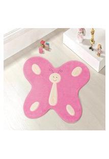 Tapete Formato Feltro Antiderrapante Borboleta Feliz Rosa