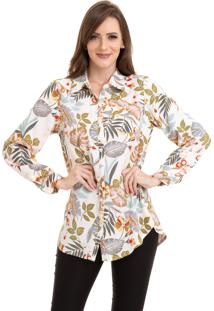 Camisa Kinara Crepe Floral Branco