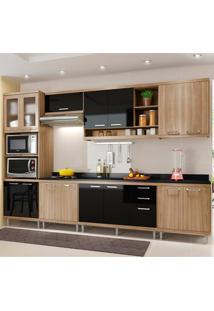 Cozinha Compacta 8 Peças Com Tampo 5835-S17T - Sicília - Multimóveis - Argila / Preto