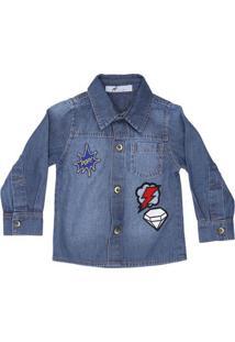 Camisa Jeans Com Patches - Azul Escuro & Vermelha- Ooliver
