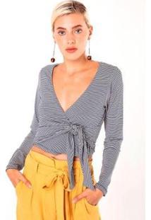 Blusa Karamello Amarração Cintura Feminina - Feminino-Cinza