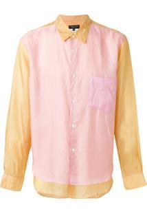 Comme Des Garçons Homme Plus Camisa Com Sobreposição - Amarelo E Laranja