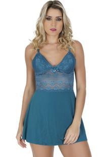 Camisola Click Chique Alça Com Renda E Bijuteria - Feminino-Azul