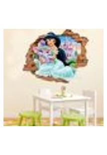 Adesivo De Parede Buraco Falso 3D Princesa Jasmine - M 61X75Cm