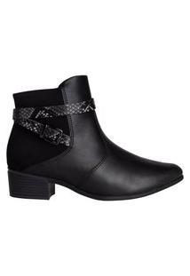 Bota Feminina Comfortflex Ankle Boot Snake Preto