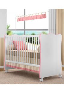 Berço C/ Rodízios Doce Sonho P/ Jogo De Quarto Infantil Bebê - Branco/Rosa