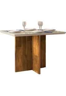 Mesa De Jantar Retangular Com Tampo De Vidro Ariel Tronco E Creme 108,5 Cm