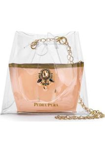 Bolsa Pedra Pura Transparente Feminina - Feminino-Rosa+Dourado