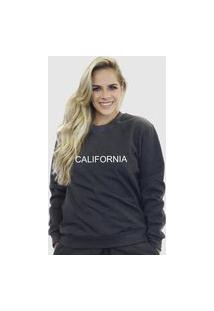 Blusa Moletom Feminino Moleton Básico Suffix Chumbo Estampa California
