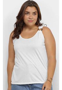 Regata Lecimar Básica Plus Size Feminina - Feminino-Off White