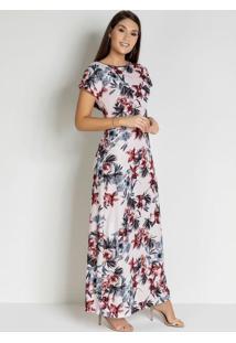 Vestido Com Recorte Floral Rosê Moda Evangélica